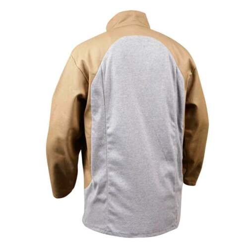 Black Stallion JF1625-TG Stretch-Back FR Cotton Welding Jacket Tan Large