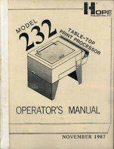 Hope-Model-232-Table-Top-Print-Processor-Manual-1987-Free-Shipping
