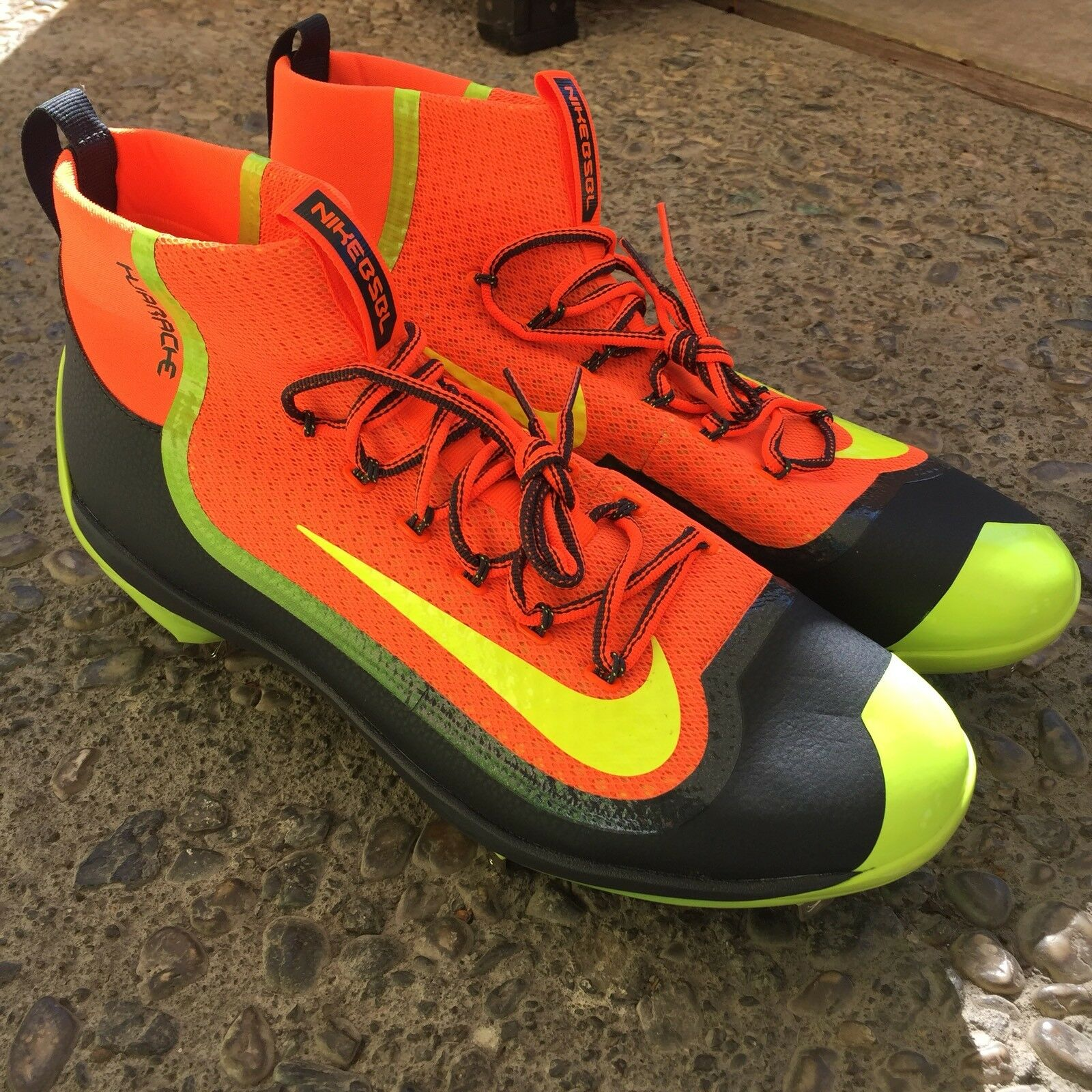 Comfortable and good-looking Nike Alpha Huarache 2KFilth Mid Cleats Mens 14 Orange Anthracite Volt 749359 870