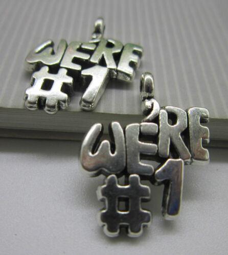 wholesale 15//45PCS Retro Style lovely /'were#1/' alloy Charm pendant