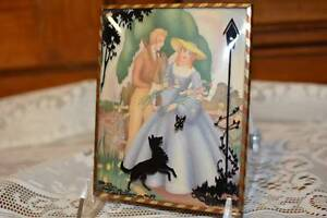 Antique Vintage Silhouette BUBBLE Glass FRAME Southern Belle LOVE Man Woman