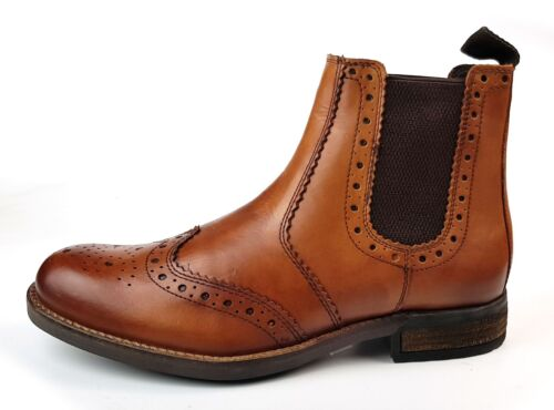 Roamers Chepstow Mens Brogue Chelsea Dealer Boots Tan Cleated Sole Size