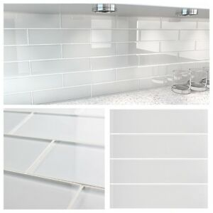3 Quot X12 Quot White Crystal Glass Subway Tile For Kitchen