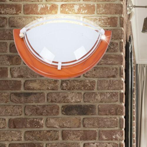Exquisite Wand Lampe Beleuchtung Schale rund Holz Eiche Flur Ambiente Licht Neu
