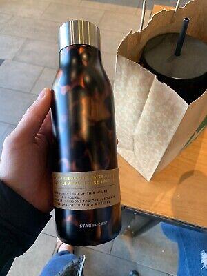 Starbucks Tortoise Print Black Brown 20 oz Stainless Steel Water Bottle