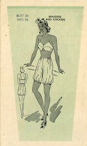 d06cea13131c Vintage 1940's Sewing Pattern Women's Brassier Bra Knickers Bloomers ...