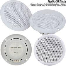 "2x Moisture Resistant Ceiling Speakers -80W 8Ohm 5"" Kitchen Bathroom 2 Way Loud"