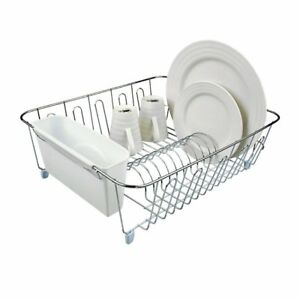 NEW D.Line Dish Drainer Chrome & PVC with Caddy Large White