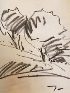 "JOSE TRUJILLO - Modernist Original Charcoal Paper Sketch Drawing 12"" ARTIST"