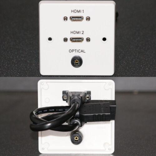 AV Wall Face Plate 1x Optical TOS TOSLink digital audio socket 2x HDMI sockets
