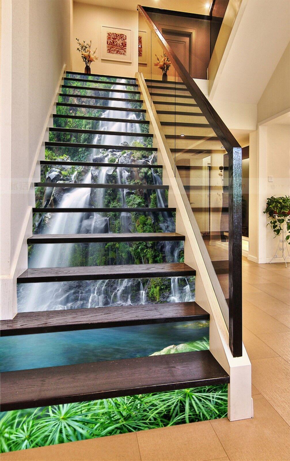 3D Wasserfall 1422 Stair Risers Dekoration Fototapete Vinyl Aufkleber Tapete DE