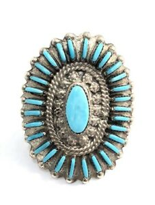 Native-American-Sterling-Silver-Zuni-Handmade-Turquoise-Ring-Size-7-5