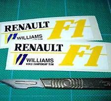 Williams Renault F1 Racing Rally Car fan Sticker Wht x2 each 85mm long Yellow F1