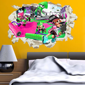 Details about Splatoon 2 Wall Stickers Decals in Crack Bedroom Kids Gift  Home Decor