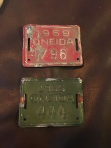 Vintage 1959 & 1965 Oneida NY Bicycle License Plate 796 444 Plates