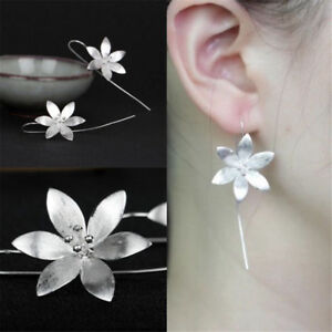 New-925-Silver-Plated-Women-Fashion-Jewelry-Long-Drop-Hook-Earrings-Flower-Shape