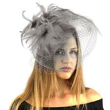 Fancy Big Birdcage Dual Veil Feathers Headband Fascinator Cocktail Hat Cap Gray