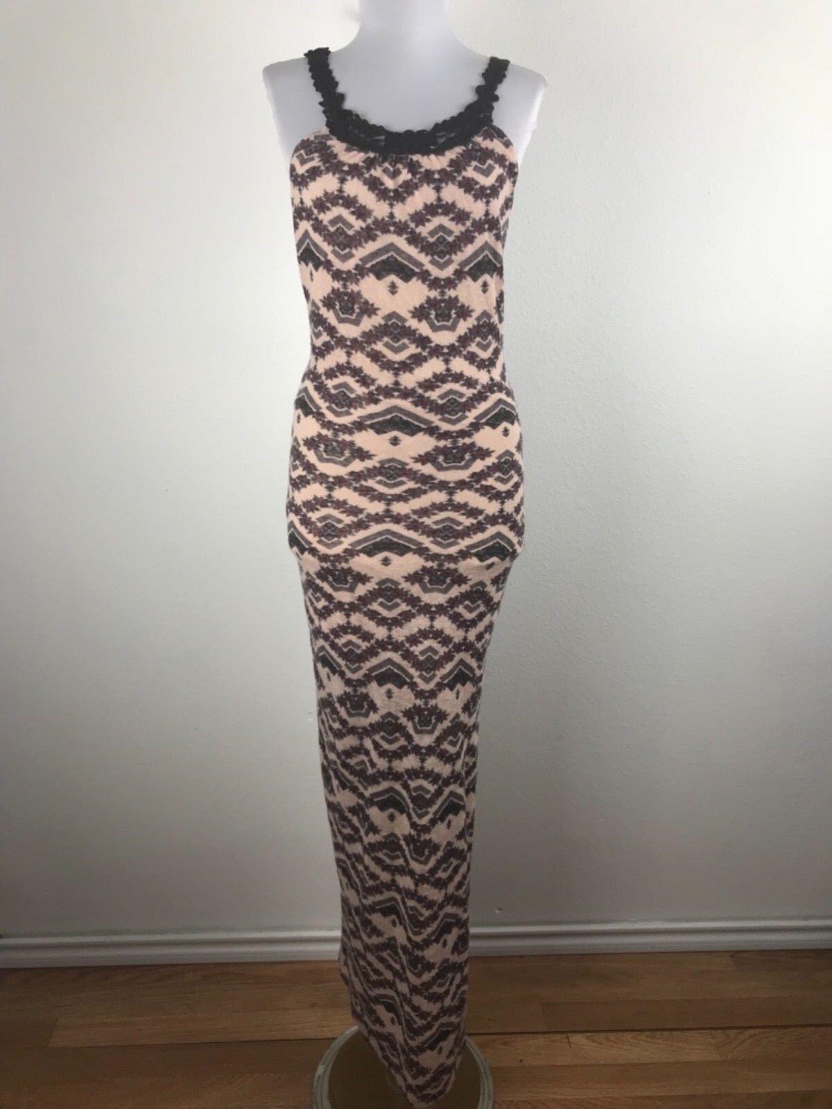 Free People Maxi Dress Sz M Rosa Floral Crochet Sleeveless Side Vent Racer Back