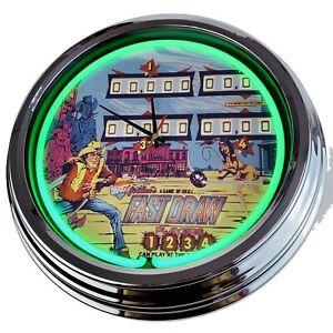 "N-0507 Wall Clock "" Pinball Fast Draw Gottlieb 1975 Decor Neon Kitchen Game Room"