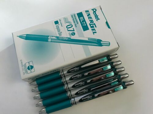 12 pcs x Pentel Energel 0.7mm Retractable Gel Pen Turquoise Blue ink BL77
