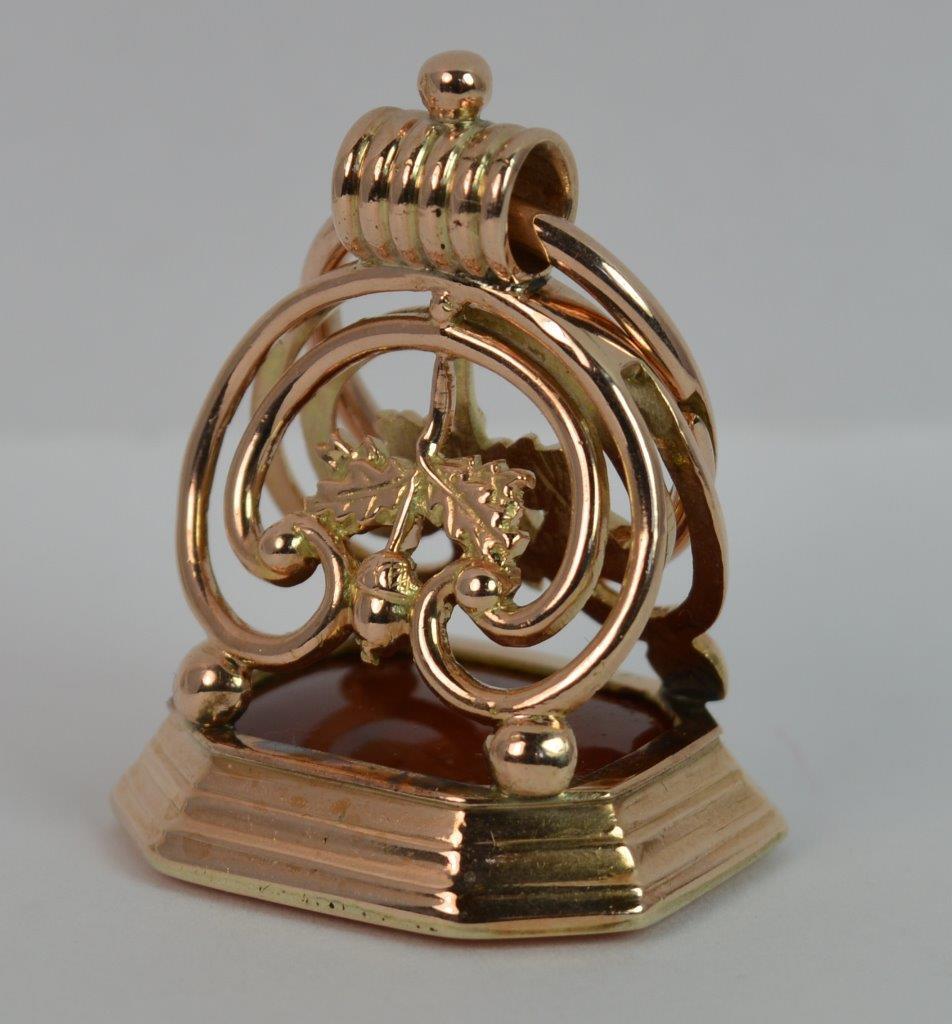 Large Stunning Georgian 15ct pink gold Cornelian Intaglio Seal Fob Pendant t0923