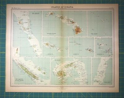 Pacific Islands Hawaii Fiji Vintage 1922 Times World Atlas Antique Folio Map Ebay