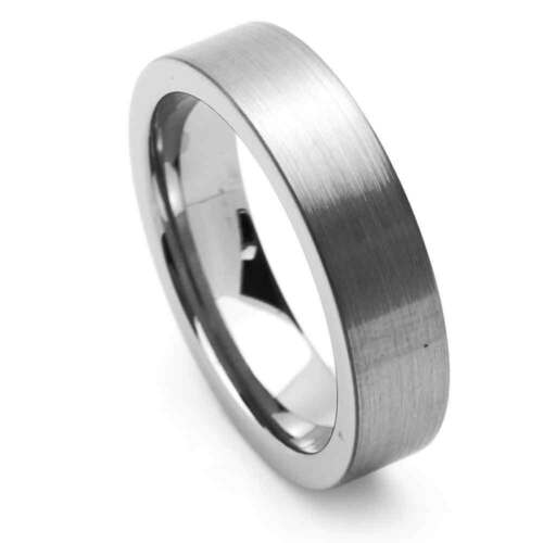 Men 6mm Tungsten Ring Dark Color Brushed Rough Matte Satin Polish Pipe Cut Band