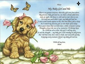 My Baby Girl Or Baby Boy And Me Personalized Poem Gift Ebay