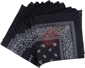 Lot-of-12-PCS-Black-Bandana-Wrap-Head-Paisley-Scarves-100-Cotton
