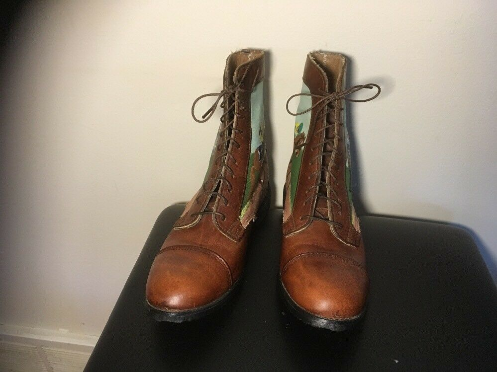 Hand Painted Paddock Boots Boots Boots Size 7 equestrian decor Brown Leather Horses Emerson eeabb5