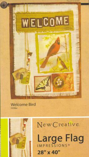 IMPRESSIONS Garden Flag WELCOME BIRD Cardinal Butterfly 28 x 40 NEW!
