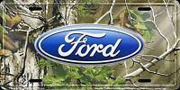Ford Logo Camo Car Truck Tag License Plate Realtree Camouflage Metal Sign
