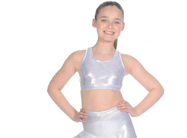 Roch Valley Crop Top Double Front Lining Cotton//Lycra Black Dance Gym Fitness