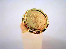 Ring mit Goldmünze 14 Karat 585 Gelb und Rot Gold Münzring Königin Elisabeth II