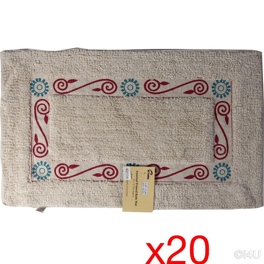 20 x Tapis de bain 45X75 Coton Doux Tufté Tapis Design Antidérapant Tapis de salle de bain
