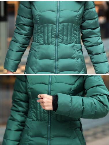 Womens Puffer Jacket Padded Warm Coat Long Winter Parka Zip Up Faux Fur Hooded
