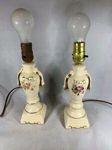 Pair-of-Vintage-Porcelain-Floral-Lamps-w-24K-Gold-Trim-a374