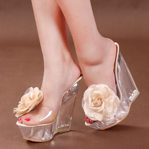 Ladies Clear Wedge Heel Peep Toe Flower Party Slipper Shoes Platform Sandal New