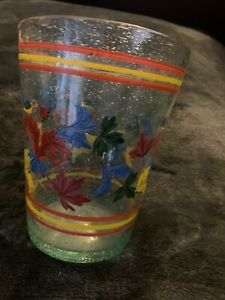 Large-Bubble-Glass-Vase-Cup-With-Flowers-Vines-Handpainted-Blue-6-Tall-Vintage