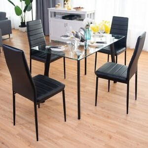 Image Is Loading 5 Pcs Dining Set Tempered Gl Top Table