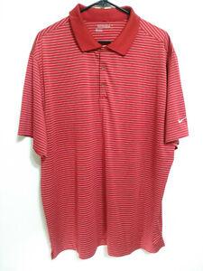Nike-Golf-Tour-Performance-Dri-Fit-Mens-XXL-Red-Striped-Short-Sleeve-Polo-Shirt