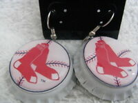 1 Bottle Cap Image Earrings Handcrafted Gift Idea Red Sox