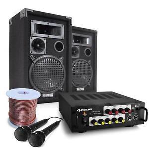 Pack-Enceinte-Karaoke-Pro-Polyvalent-Amplificateur-2x200W-RMS-Kit-Cables-Micros