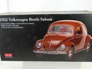 01:12 Sun Star # 5203 - 1953 Volkswagen Vw Coccinelle Beetle Berline Brun Lmtd.