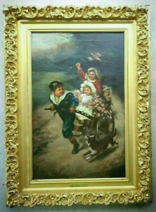 Antique-Original-Oil-Painting-19c-1800-039-s-Victorian-Portrait-Children-Playing-Dog