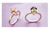 (8x5-10x7mm) Pear Solitaire Sterling Silver Pre-notched Ring Setting Size 6.5