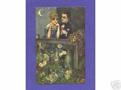 A0618 Busi Postcard of Couple on Balcony with Roses