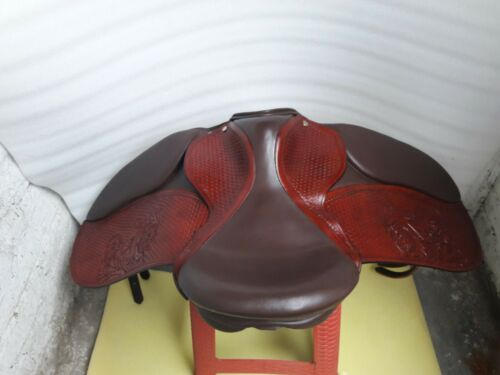 """17/"""" English tan//brown leather tooled carving dressage  treeless saddle"""