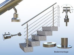 1 m Edelstahl Geländer Handlauf Treppe-Geländer 100 cm