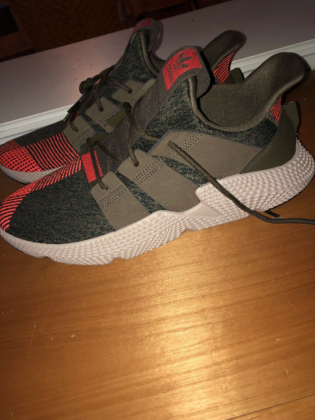 NEW MEN& 039;S ADIDAS PROPHERE SNEAKERS CQ2127   SIZE 13   TRACE OLIVE SOLAR RED